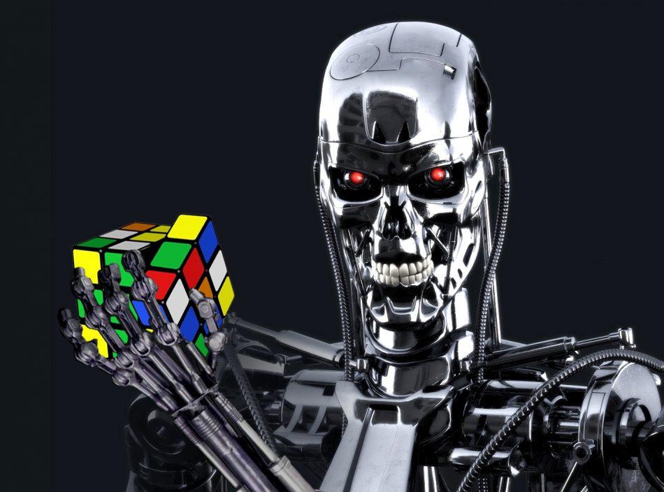 Imagem: Fotomontagem com personagem T-800 e foto do Rubik