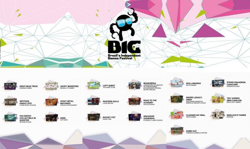Imagem: fotomontagem com parte dos jogos brasileiros presentes no BIG Fetival